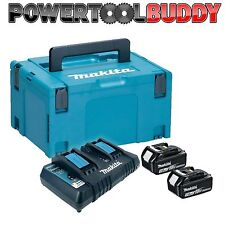 Makita DC18RD 7.2v-18v LXT Twin Port Fast Charger + USB 230volt + 2 x Batteries