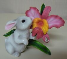 Enesco BUNNY WITH ORCHID Porcelain Figurine NEW #4027619 White Rabbit Jewel Drop