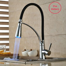 Black Chrome Pull Down Sprayer LED Kitchen Laundry Sink Mixer Faucet One Handle