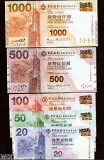 HONG KONG $20 50 100 50 1000 2010 BOC CHINA Set COIN UNC CURRENCY MONEY BANKNOTE
