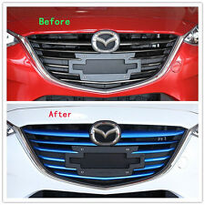 Blue Front Grille Molding Cover Trim Insert ABS Chrome For Mazda 3 Axela 11PCS