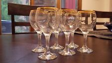 "Crystal Wine Glasses with Gold Rim and ribbed stem Set of 6 - 6 1/4"" height"