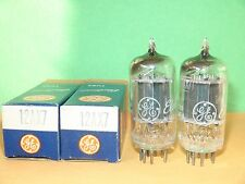 Matched Pair GE 12AX7 ECC83 Long Black Plates D-Getter Vacuum Tubes 1955 1665/16