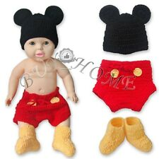 HANDMADE NEWBORN BABY BOY MICKEY MOUSE CROCHET PHOTO PROPS OUTFIT XMAS COSTUME