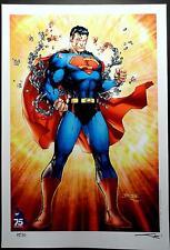 SUPERMAN 75th ANNIVERSARY LIMITED ED ART PRINT JIM LEE & ALEX SINCLAIR  13x19