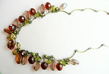 ACCESSORIZE GOLD NECKLACE - LARGE AMBER, GREEN & SMOKEY GREY BEADS & GOLD DETAIL