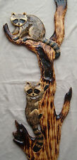 2 RACCOON Cub Cubs Chainsaw Cabin Decor Wall Art Wood Carving Carved cub