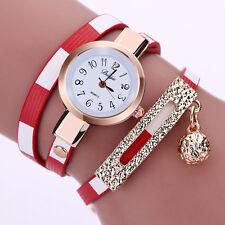 NEW Fashion Womens Lady PU Leather Stainless Steel Bracelet Quartz Wrist Watch