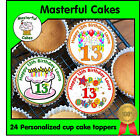 24 PERSONALISED 13th BIRTHDAY DESIGN 1 EDIBLE RICE PAPER CUP CAKE TOPPERS