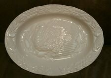 Large White China Thanksgiving Tom Turkey Bounty Serving Platter Japan 19 X 14