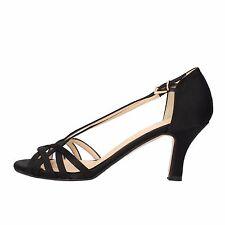 scarpe donna OLGA RUBINI 38 EU sandali nero raso AF134-E