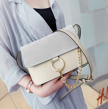 womens PU leather crossbody Shoulder Messenger Handbag ring chain small bag