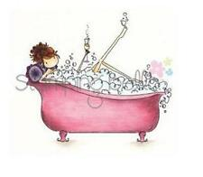 New Stamping Bella Cling  Rubber Stamp Bubbly girl in bath tub Free USA ship