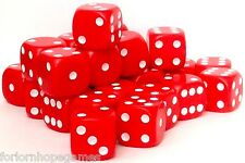 24 x 16mm Opaque D6 Spot Dice Six Sided plastic - Red