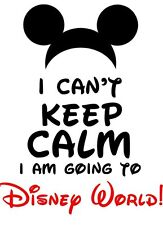 ***KEEP CALM I'M GOING TO DISNEY MICKEY MINNIE VACATION**SHIRT IRON ON TRANSFER