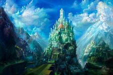 "Cloud, Castle Landscape Scenery Fantasy Artwork Poster 24""x36"" Silk Fabric Print"