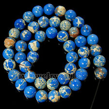 "Natural Blue Red Sea Sediment Jasper Gemstone Round Loose Beads 15"" 4mm 6mm 8mm"