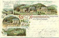 Neunzehnhain, Farb-Litho mit Hammermühle, 1900