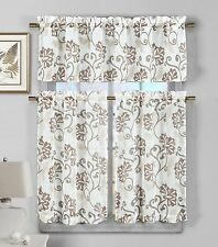 Chocolate Brown Floral Vine Deisgn 3 Piece Semi Sheer Window Curtain Set