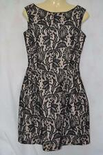 BLACK & NUDE FLORAL ZARA WOMAN LACE DETAIL STRUCTURED SKATER DRESS UK SMALL 8 10