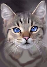 ACEO OIL PAINTING  CAT GREY TABBY BLUE EYES        BY BRADBERRY