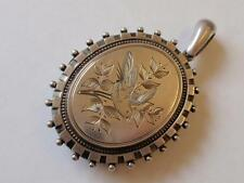 ANTIQUE VICTORIAN LARGE SILVER ENGRAVED LOCKET. C. 1880