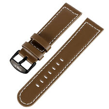 YISUYA 22mm Genuine Leather Band Strap Brown Watchband Smooth Wrist Bracelet