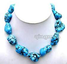 "SALE BIG 20-30mm BAROQUE Natural Blue TURQUOISE 18"" NECKLACE-Nec6011"