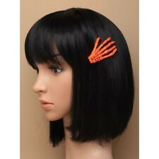 NEW Neon orange plastic skeleton hand hair clip fancy dress halloween