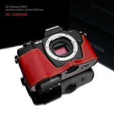 Gariz Leather Half Case XS-CHEM10R for OLYMPUS OM-D E-M10 EM10 Red