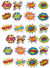 24 Stand Up Superhero Retro Pow Zap Comic Book Edible Wafer Paper Cake Toppers