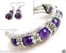 Beautiful Jewelry Tibet Silver Amethyst Bracelet woman Earrings set