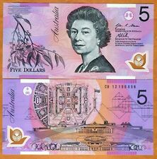 Australia, $5, 2012, Polymer, P-57g, QEII, UNC   New date and signature