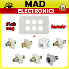 Custom 6 Gang Wall Plate Wallplate Speaker RCA RJ45 F PAL Inserts-Pick your own!
