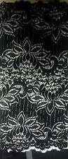 """1 yard  Black double scalloped wide stretch lace trim 12"""" fabric"""
