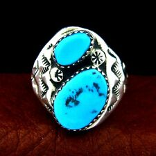 Native American Made Sterling Silver Turquoise Ring  Size 10.5 --- R58 E