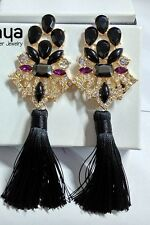 ANTHROPOLOGIE MOST AMAZING BLACK STONES TASSELS 5,5'' DROP DANGLE EARRINGS NEW