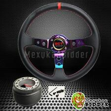 350mm Neo Chrome Drifting Deep Dish Steering Wheel + Hub Adapter Civic 92-95 EG