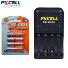 4 AA NiZn Rechargeable Batteries 2500mWh 1.6V + AA/AAA NiZn Charger PKCELL US