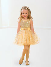 child Gold dance costume ballet tap jazz  recital competition  size MC NEW