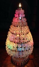 """Mid-Century Hand Crafted SAFTEY PIN & BEADS CHRISTMAS TREE LIGHT Decoration~14"""""""