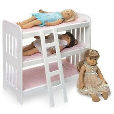 Badger Basket Triple Doll Bunk Bed With Ladder And Pink Gingham Mats 18580