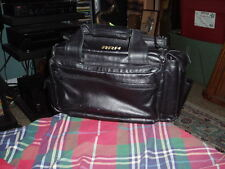 SPORTY'S PILOT SHOP BLACK Genuine LEATHER FLIGHT BAG Carry Tote Bag Pakistan VG!