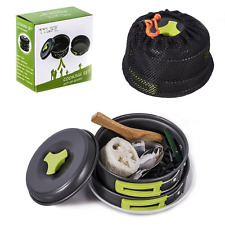 TTLIFE Camping Cookware Mess Kit Backpacking Gear Hiking Outdoors Bug Out Bag Co