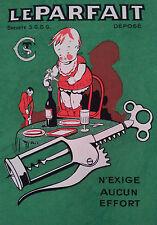 Affiche Le Parfait 33 x 45 cm Tire bouchon corkscrew poster illustrateur