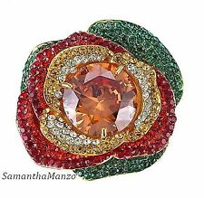 Micro Pave Set Crystal Ruby Emerald Champagne Cz Rose Flower Cocktail Ring 8