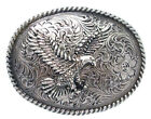 WESTERN COWBOY ANTIQUE NICKLE PLATED ENGRAVED 3D EAGLE ROPE EDGE BELT BUCKLE NEW