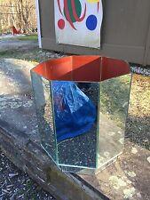 Vintage ESTATE Mirrored Waste Paper Basket Trash Can Regency Glam Chic MCM Mod