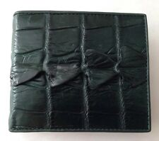 100% Genuine crocodile alligator tail skin leather bifold men dark green wallet