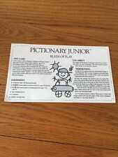Pictionary Junior 1987 Replacement Spare Instructions Y90